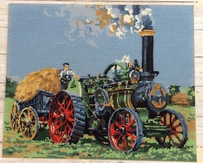 Fab Vtg Completed Tapestry Steam Traction Engine With Hay Trailer design