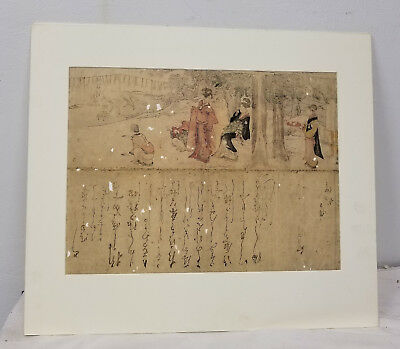 Antique Fine Japanese Woodblock Painting Print Calligraphy Signed Some Wear
