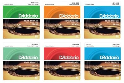D'Addario EZ 85/15 Bronze Acoustic Guitar Strings with a choice of 6 gauges