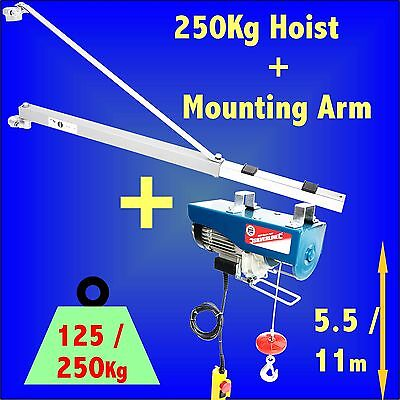 250kg Electric Hoist + Support Arm Winch Lifting Scaffold crane block lift
