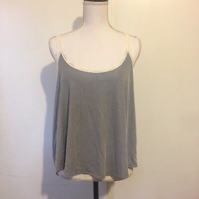 NWT Women's Victoria's Secret Grey Pajama Top Ribbed Cami Tank Lace Trim Size L