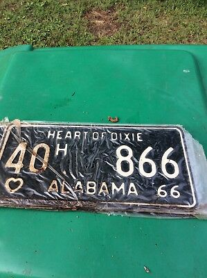 1966 Heart of Dixie Alabama Antique Classic License Plate
