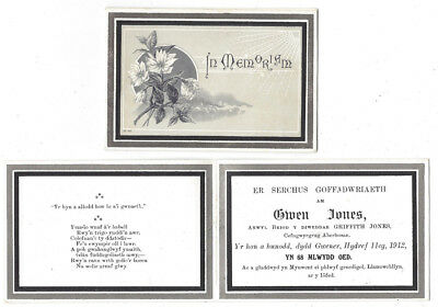 ABERHOSAN Montgomeryshire, Owen Jones In Memoriam card 1912