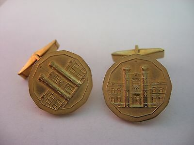 Vintage Gold Tone ROYAL CANADIAN MINT Mens Cufflinks Jewelry Accesory