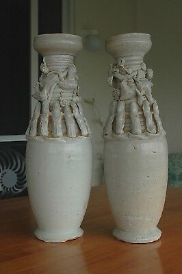 PAIR SONG Dynasty Antique Chinese Celadon Pottery Figural Dragon Vases 33cm 13""