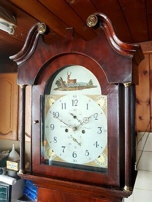 A Victorian Oak, Mahogany & Inlaid Longcase Grandfather Clock C1850