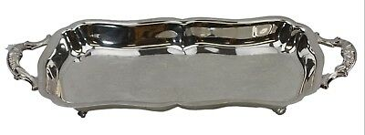 Leonard Silver Rectangular Silver Plate Footed Double Handle Tray