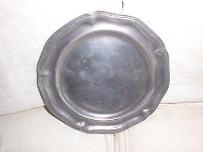 Scalloped edged antique Pewter Plate
