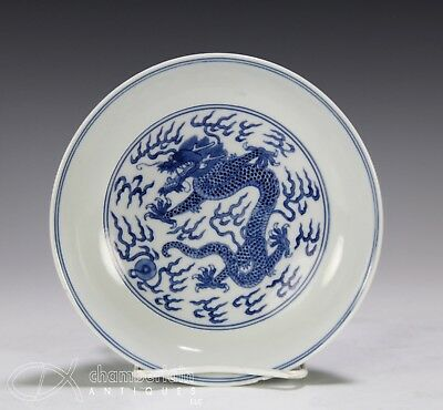 Chinese Blue And White Porcelain Dish With Dragons And Daoguang Mark