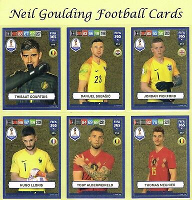 Panini FIFA 365 2019 ☆☆☆ WORLD CUP HEROES ☆☆☆ Gold Football Cards #352 to #396