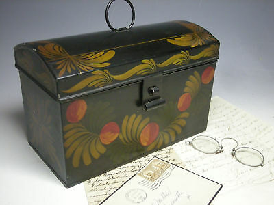 Beautifully Painted Vintage Tole Ware Dome-Top Document Box, circa 1940, AAFA NR