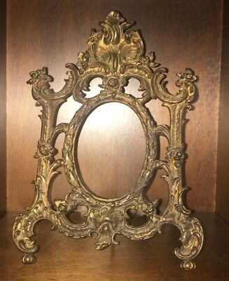 Antique Victorian Large Solid Bronze / Brass Picture Frame