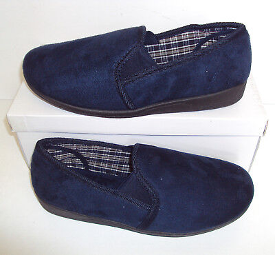 Mens Navy Faux Suede Slippers Pull On New Warm Winter Indoor Shoes Sizes 6-12