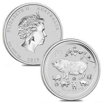 Lot of 2 - 2019 1 oz Silver Lunar Year of The Pig BU Australian Perth Mint In