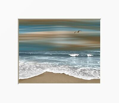 Brown Blue Coastal Ocean Modern Home Decor Bedroom Bathroom Wall Art Picture