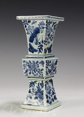 Antique Chinese Blue And White Porcelain Ku Form Vase With Flowers + Butterflies