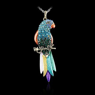 Colorful Animal Parrot  Crystal Rhinestone Pendant Necklace Sweater Chain New