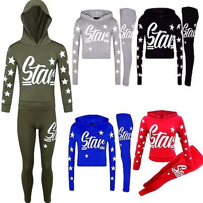 Kids Girls Star Print Hooded Top & Bottom Set Tracksuit Loungwear Jogging