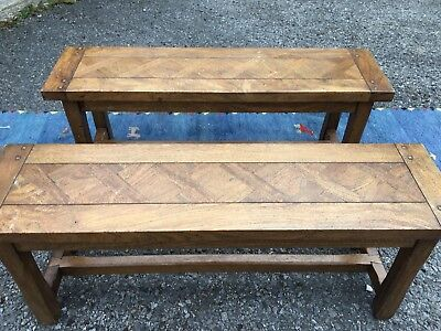 2 Matching Antique Rustic Benches with lovely detail.  Not Oak. Maybe Mango Wood