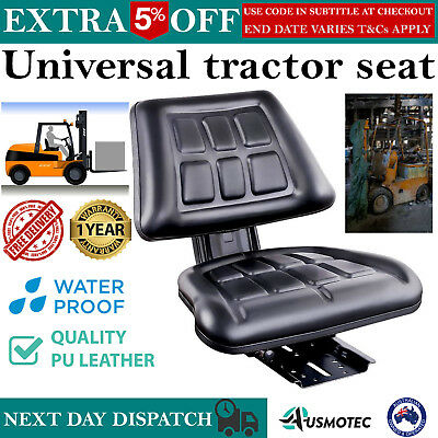 New Universal Tractor Forklift Excavator Seat Sliding Backrest Chair PU Leather