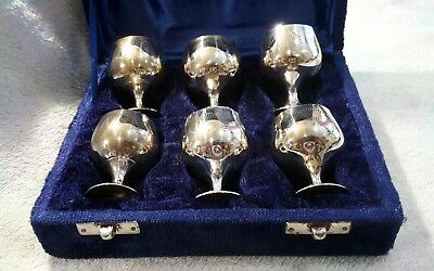 Wine / shots Goblets x6 boxed collectors item Miniature Silver plated ex cond