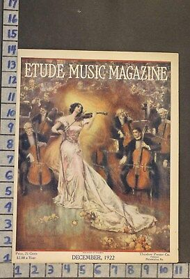 1922 Music Instrument Violin Cello Orchestra Romance Illus Gulich Cover Rj51