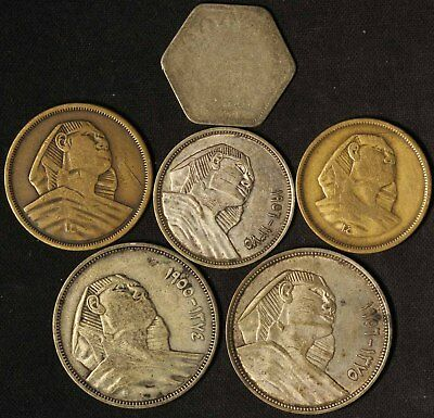 Lot of (6) Egyptian Coins - Free Shipping USA