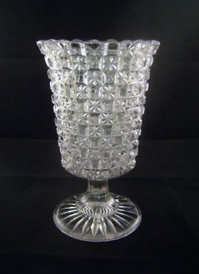 Antique Celery Glass / Vase in Pressed Glass with Hobnail & Star moulding C.1880
