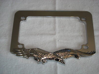 Motorbike Chrome Eagle Number Plate Surround 7 1/2 X 4 Inch