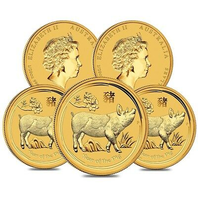 Lot of 5 - 2019 1/20 oz Gold Lunar Year of The Pig BU Australia Perth Mint In