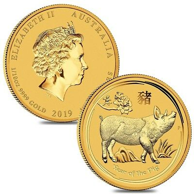 Lot of 2 - 2019 1/10 oz Gold Lunar Year of The Pig BU Australia Perth Mint In