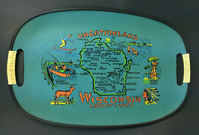 "Vtg Souvenir Serving Cocktail Tray Wisconsin Land of the Lakes 18 x 11.5"" Japan"