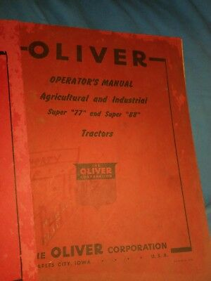 Vintage 2 x Oliver Super 66 Tractor  Operator's Manual + Super 77 and Super 88