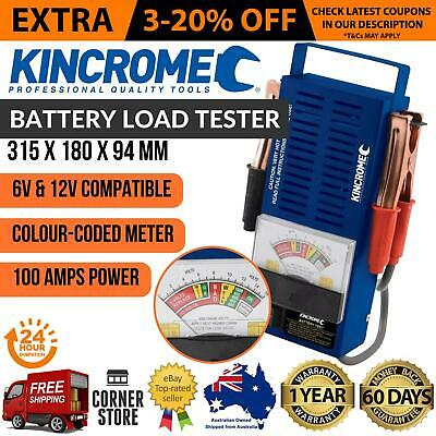 Kincrome Car Battery Load Tester 6 or 12V 100A Heavy Duty Volt Meter Analyzer