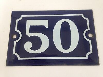 Antique French Steel Blue White Enamel Painted House Gate Number Sign Plaque1950