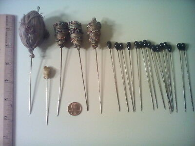 Antique Beaded & Straw, Glass etc. Hatpins (20), As Is