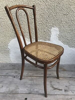 Ancienne Chaise Bistrot Style THONET En Bois Assise Canne Vintage