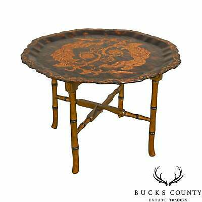 Black & Gold Crackle Painted Finish Pie Crust Tray Top Faux Bamboo Coffee Table