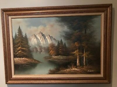 Oil painting on canvas of mountain scene