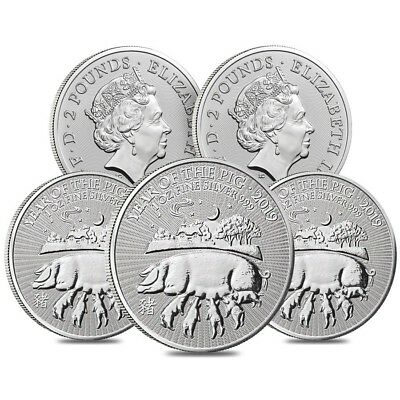 Lot of 5 - 2019 Great Britain 1 oz Silver Year of the Pig Coin .999 Fine BU In