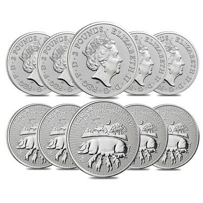 Lot of 10 - 2019 Great Britain 1 oz Silver Year of the Pig Coin .999 Fine BU In