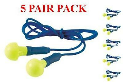 318-1001 3M EAR Push Ins Plugs With Safety Cord - 5 Pair Pack - Free Shipping!!