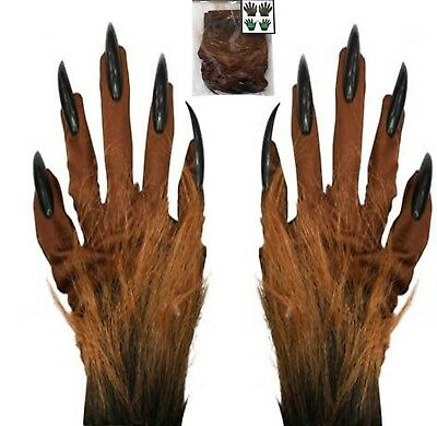Halloween Furry Gloves Scary Brown Hairy Long Nails Gloves Fancy Dress Party