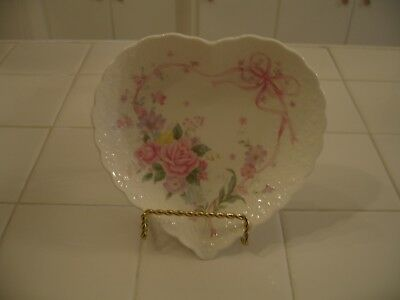 Beautiful Vintage Hand Decorated All My Love Heart Plate With Roses And Bow