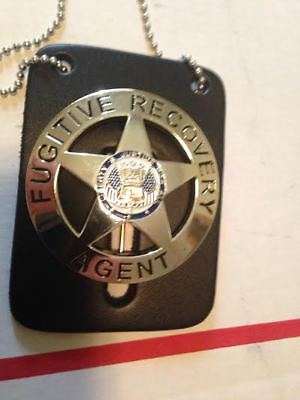 Dog The Bounty Hunter Badge Round Metal Fugitive Recovery Agent Free Leather
