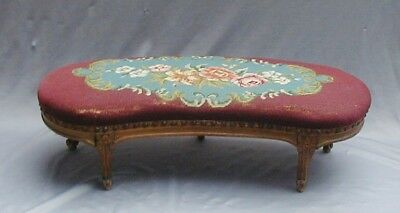 Gorgeous Antique French Kidney Shaped Foot Stool With Needlework & Brass Tacks