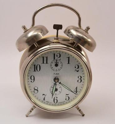Vintage Insa Double Bell Chrome Alarm Clock - Yugoslavia - Working