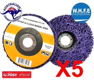 5 x 125mm  POLY STRIP DISC WHEEL PAINT RUST REMOVAL CLEAN ANGLE GRINDER