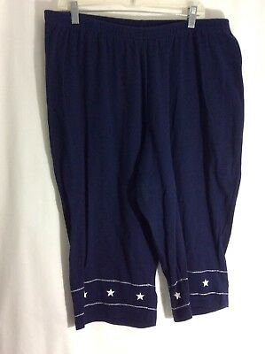 fe0afaf60c70b Womens Plus Sz 2X Blue White Star Trim Capri Pants Stretch Waist Cotton  Cropped