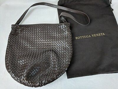 f55f7f3a7ccf Authentic BOTTEGA VENETA Brown INTRECCIATO Woven Leather Hobo Shoulder Bag  w Bag